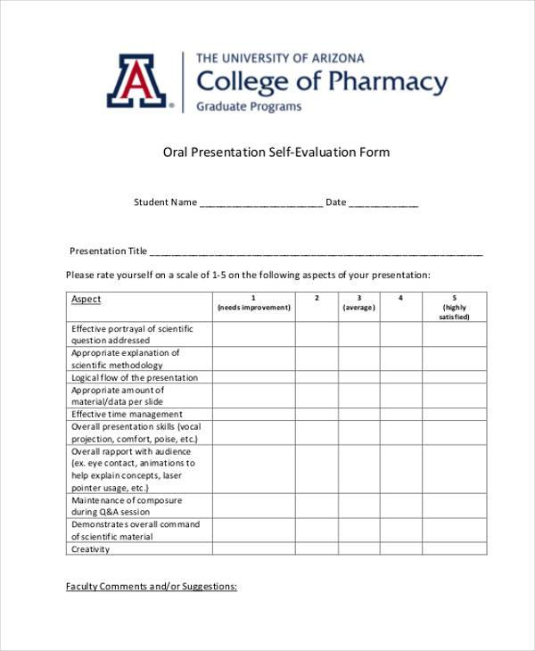 Sample Oral Presentation Evaluation Forms - 7+ Free Documents In