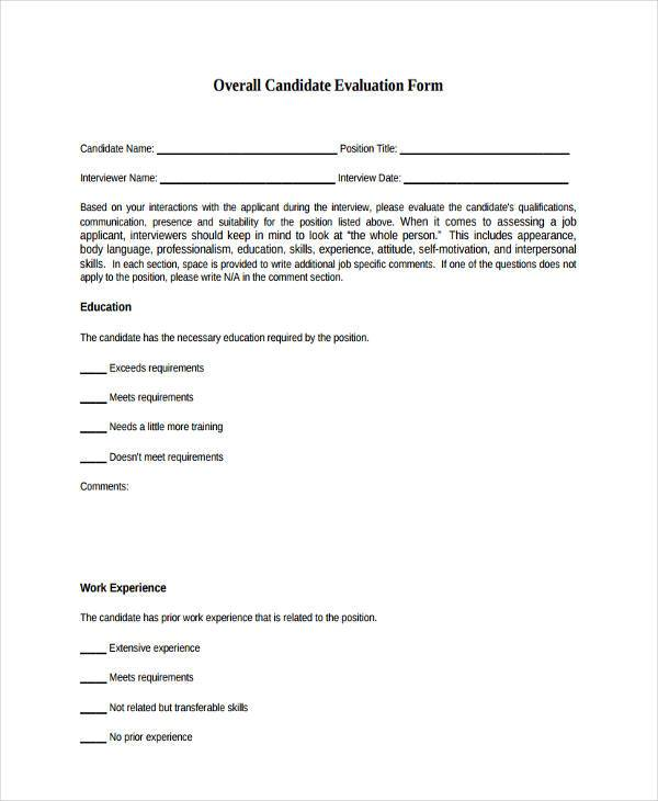 overall candidate evaluation form