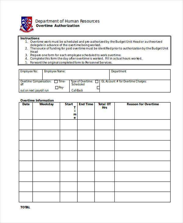 overtime authorization form in doc