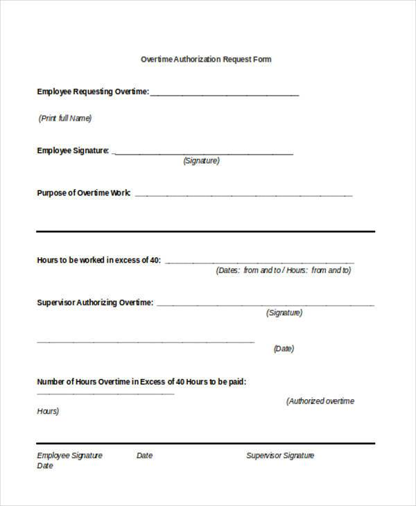 overtime authorization request form
