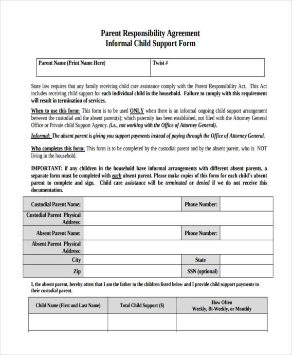 sample child support agreement forms 8 free documents in word pdf
