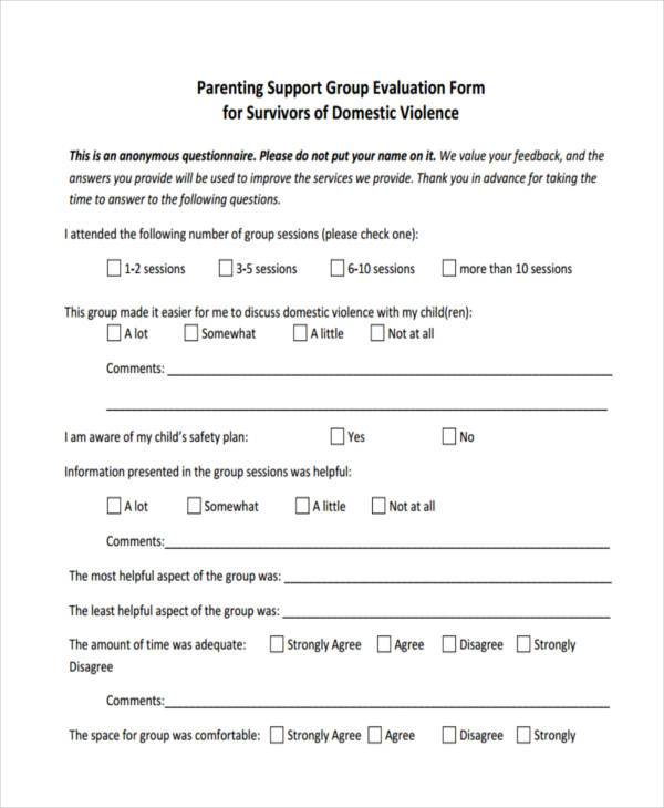 parent support group evaluation form