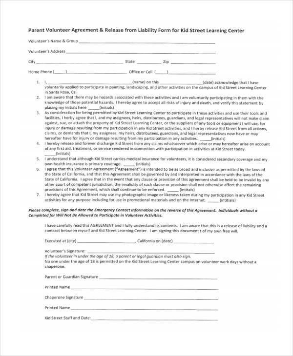 parent volunteer agreement form1