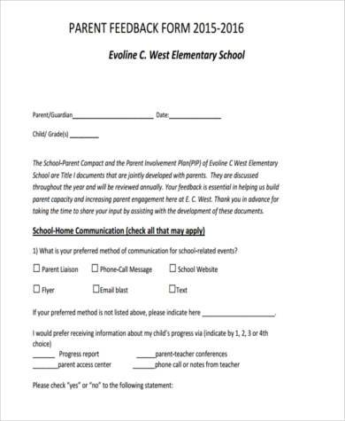 parent workshop feedback form