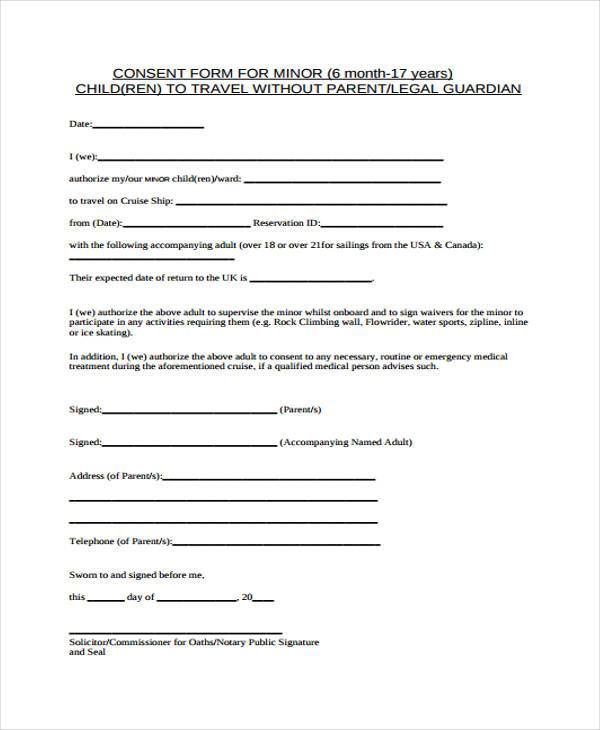 Parental Consent Travel Form