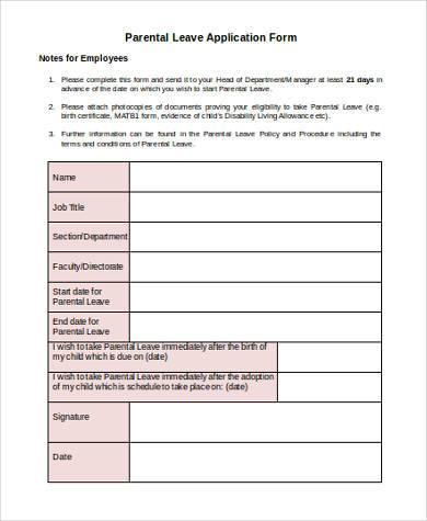 Parental-Leave-Application-Form Job Application Form Health Questions on regarding sanctions medicare,
