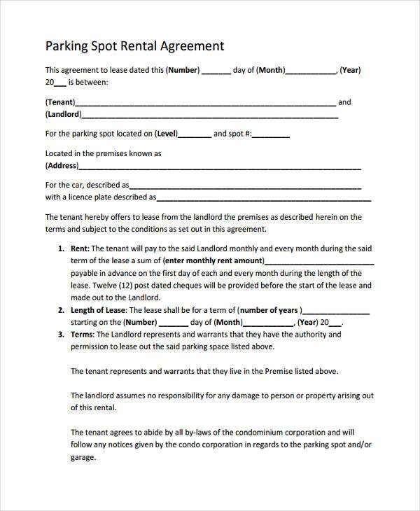 Good Parking Spot Rental Agreement Sample. Parking Rentalagreement Sample