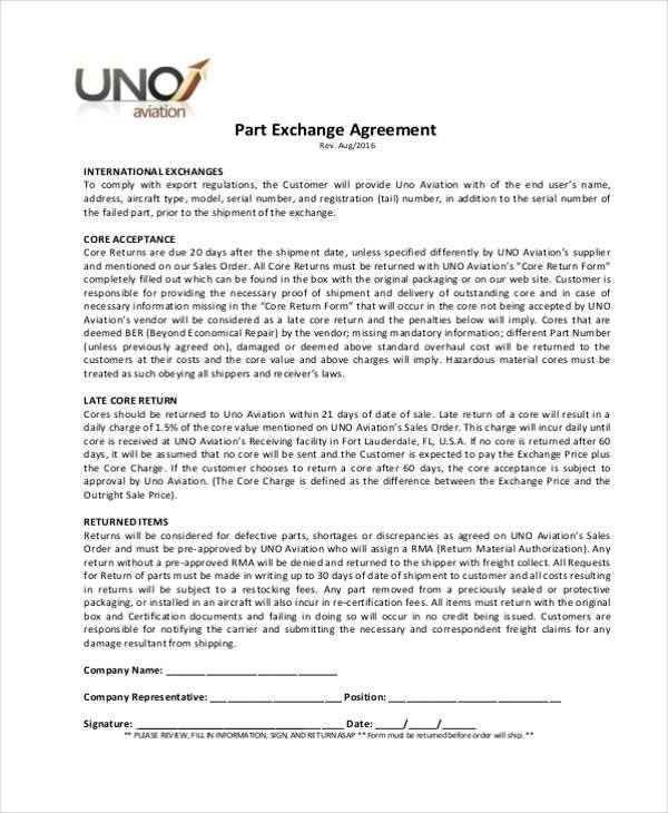 part exchange agreement form example