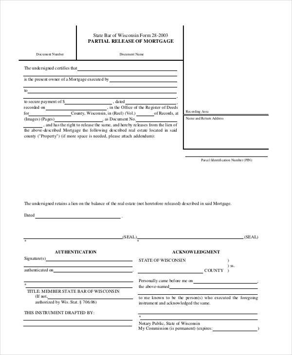 Release Of Mortgage Form Sample Printable Power Of Attorney