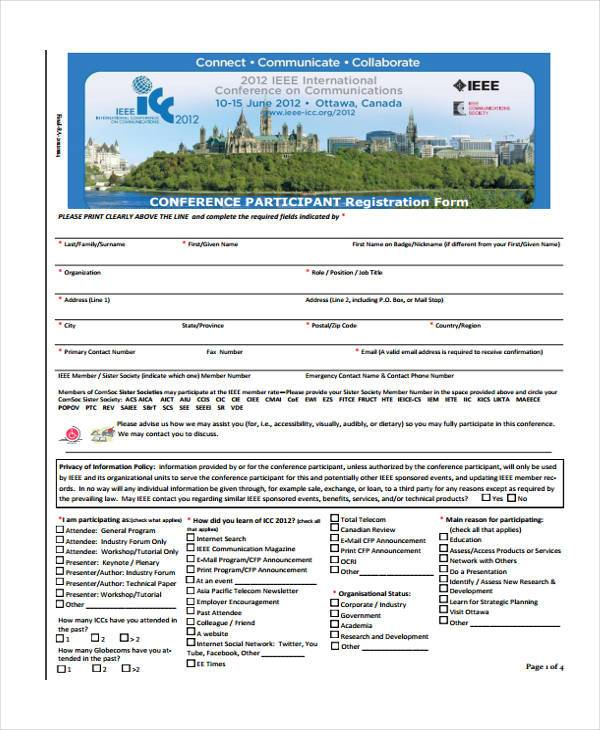 participant conference registration form