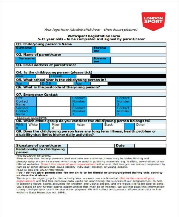 participant registration form sample