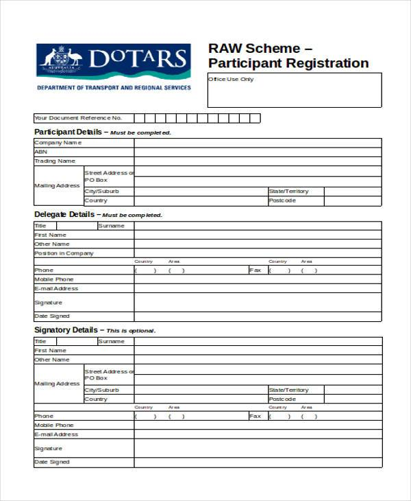 participant registration form in doc