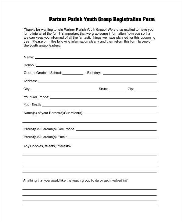 partner youth group registration form