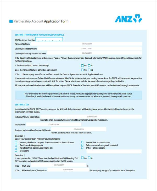 partnership account application form