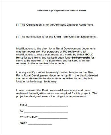 partnership agreement short form