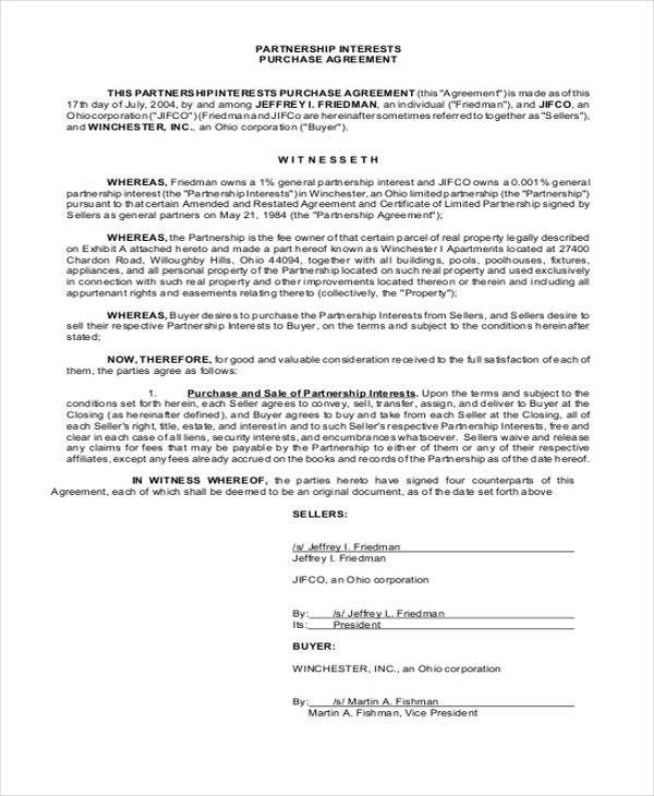 Free 11 Partnership Agreement Form Samples In Sample