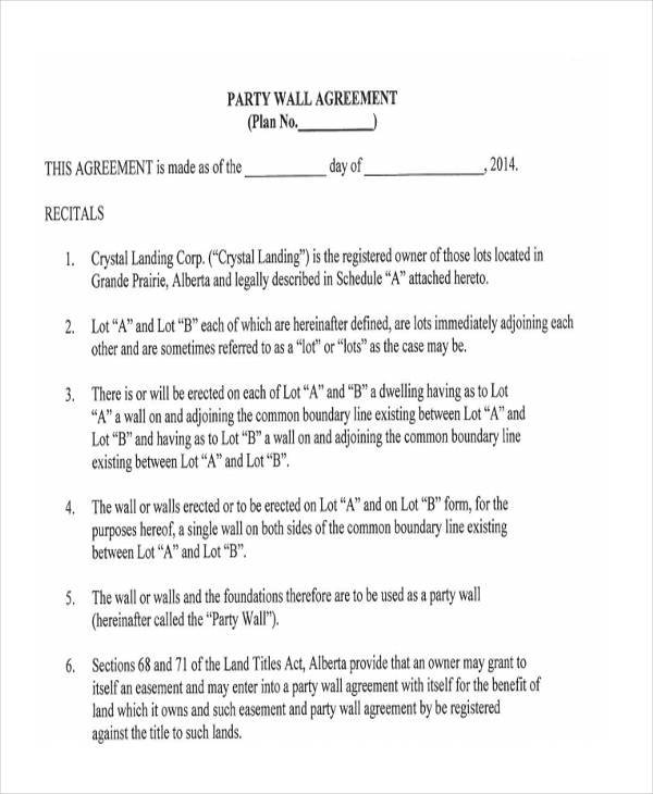 Party Wall Agreement Form Samples  Free Sample Example Format