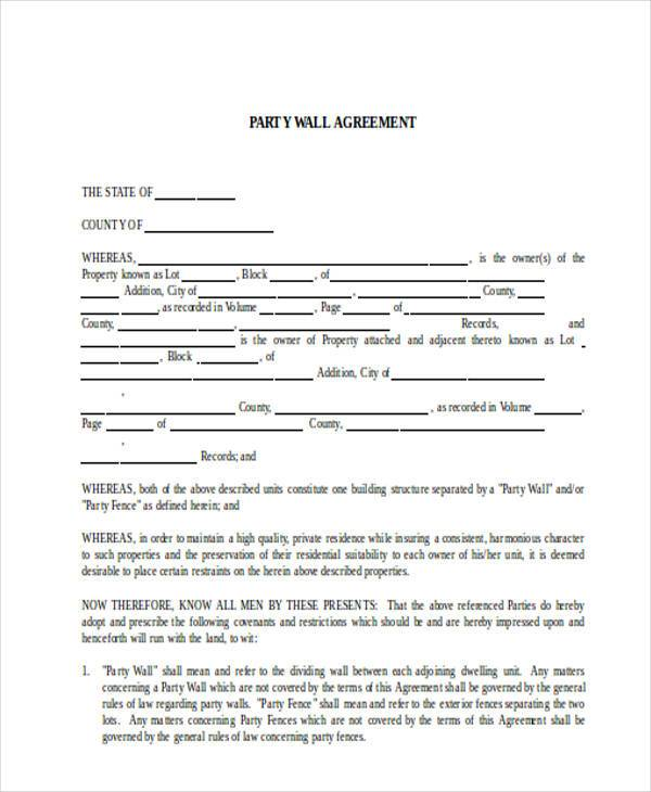 8 party wall agreement form samples free sample for Party wall agreement