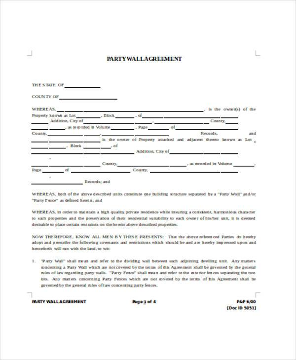 party wall agreement form in word format