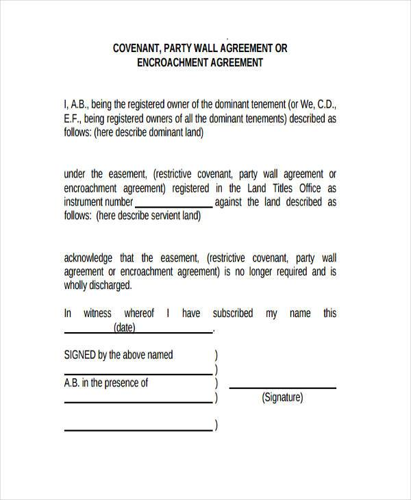 8 Party Wall Agreement Form Samples Free Sample Example Format