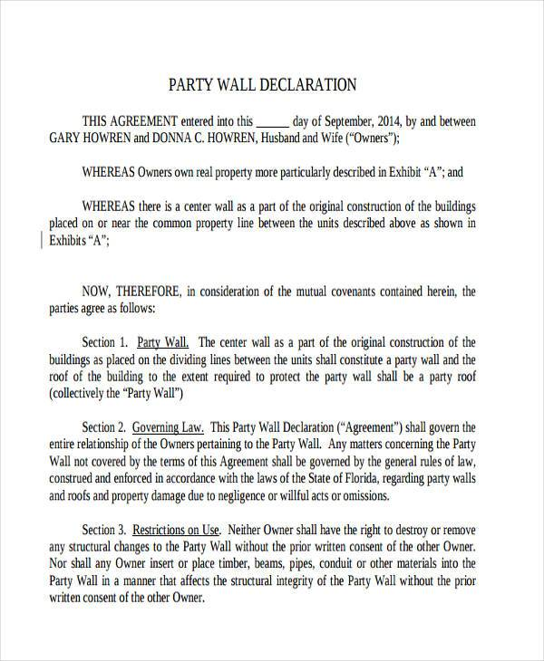 party wall declaration agreement form1