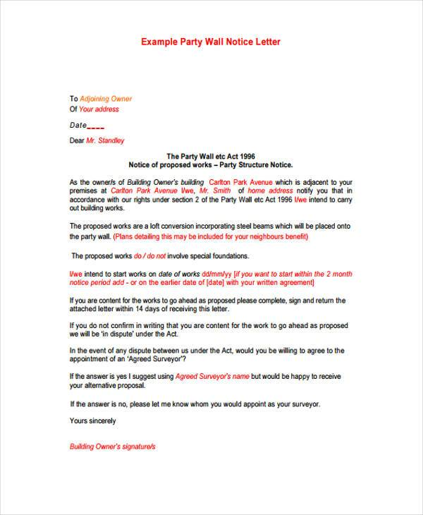 party wall notice letter form sample