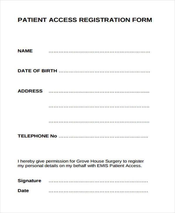 patient access registration form