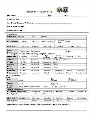 Sample Patient Assessment Forms   Free Documents In Word Pdf