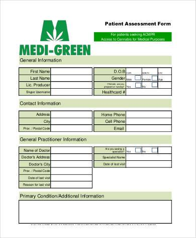 patient assessment medical form