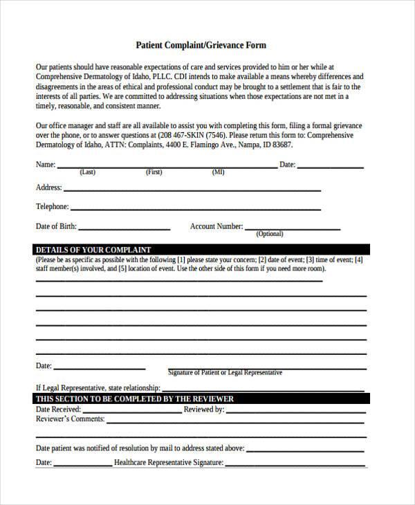 patient complaint grievance form