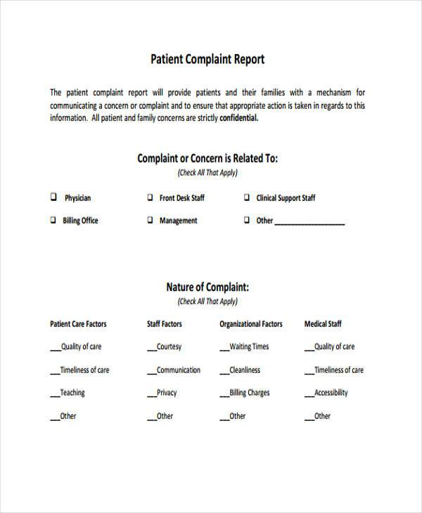 patient complaint report form