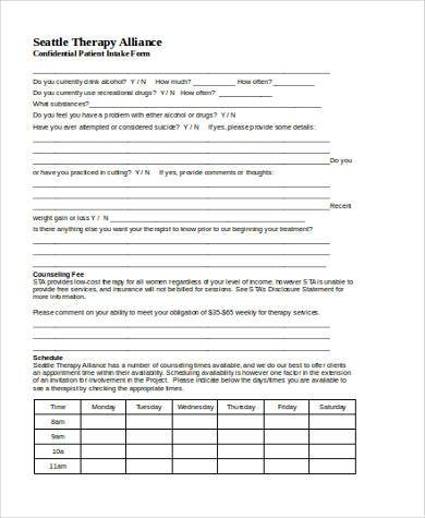 patient counseling form in word format
