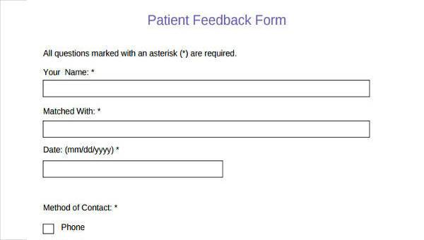 dating feedback form template