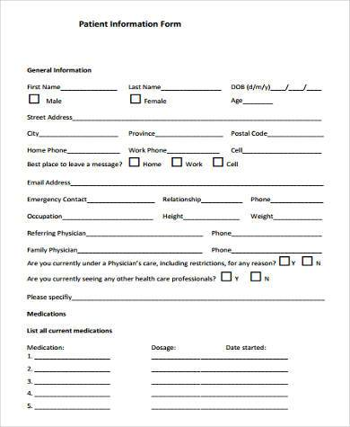 general information form samples 9 free documents in word pdf