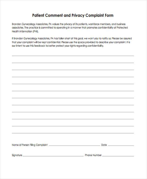Privacy Complaint Form Samples  Free Sample Example Format