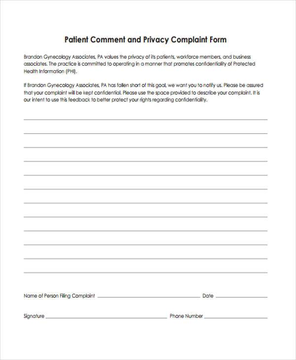 Patient Complaint Form Samples  Free Sample Example Format