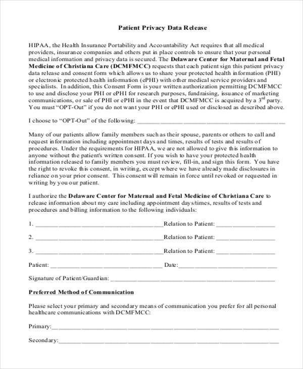 patient privacy release form