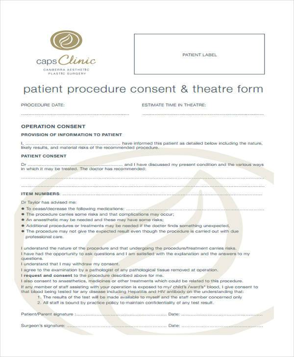 patient procedure consent form