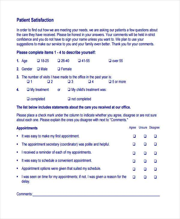 7  patient feedback form samples