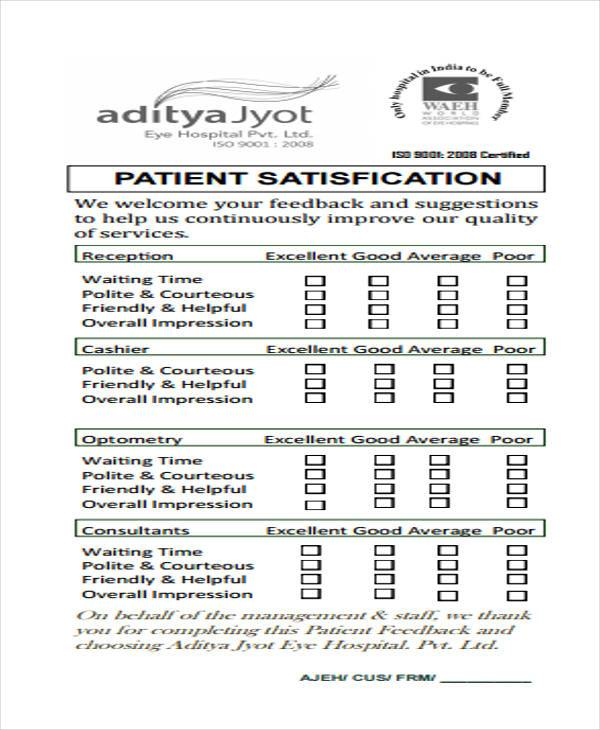 Sample Feedback Forms in PDF 40 Free Documents in PDF – Patient Feedback Form