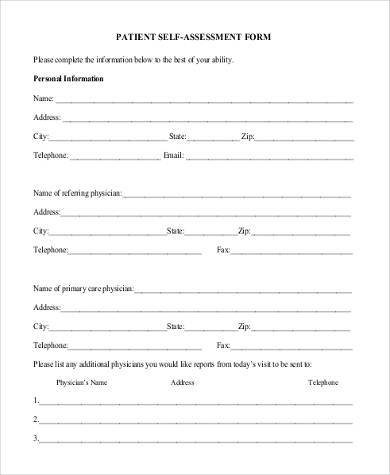 patient self assessment form