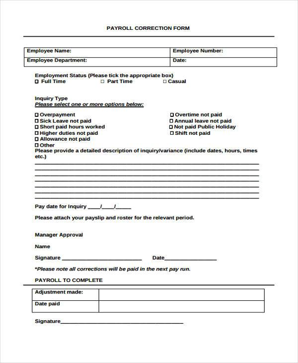 payroll correction form in pdf