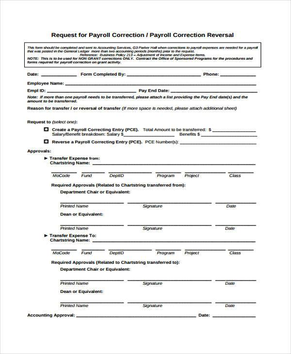payroll correction request form