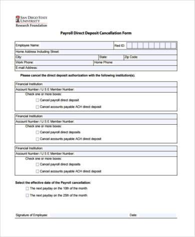 payroll direct deposit cancellation form