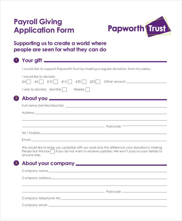 payroll giving application form