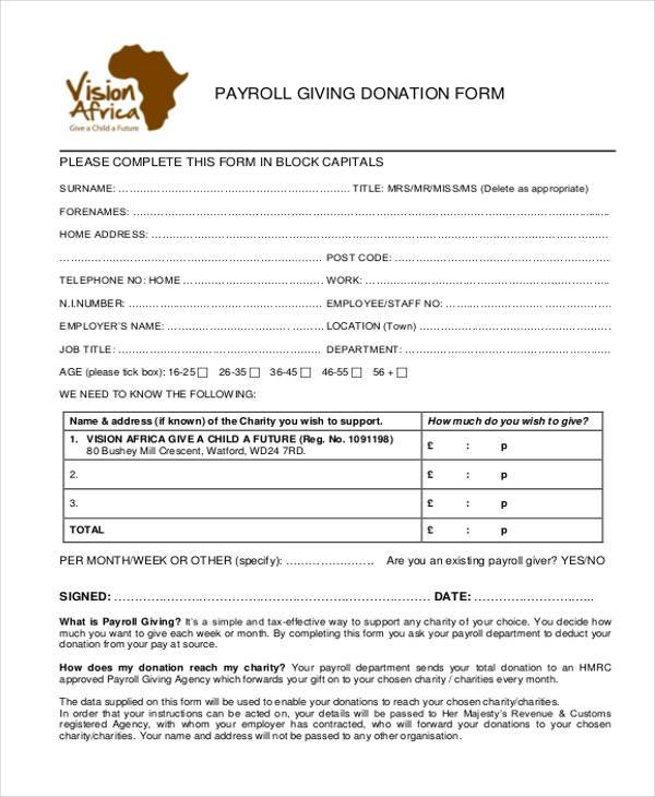 payroll giving donation form