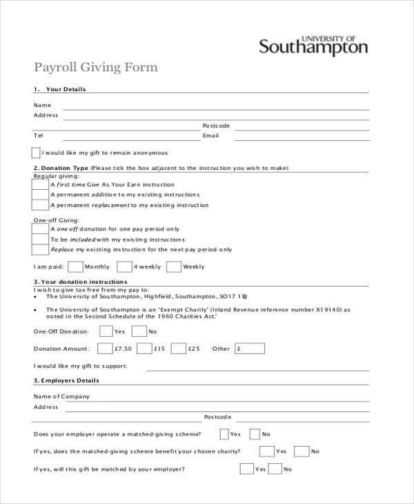 payroll giving form in pdf
