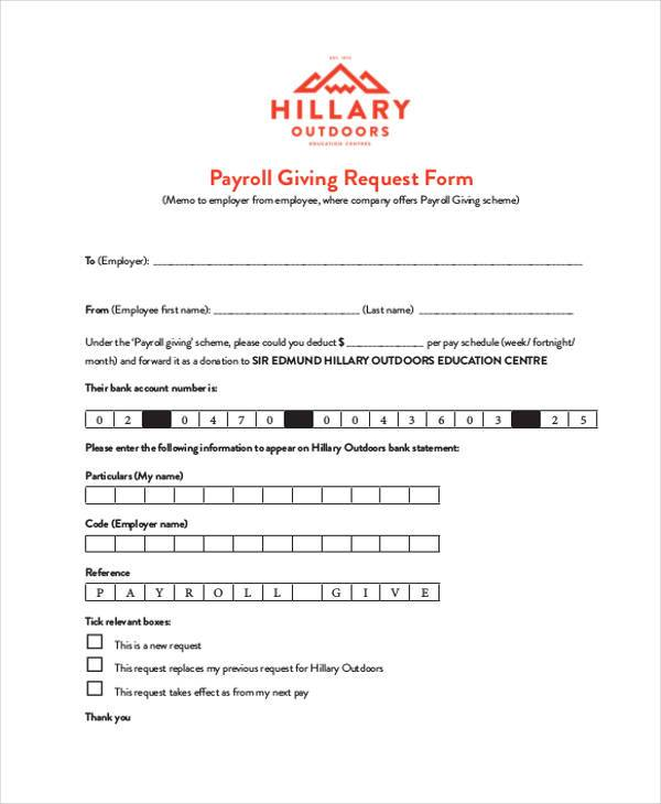 payroll giving request form