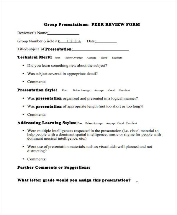 peer performance review form1
