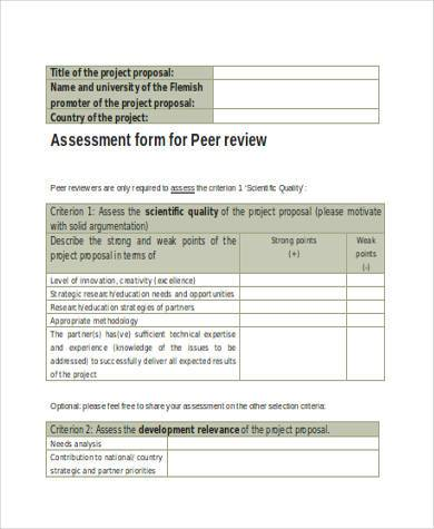 peer review assessment form